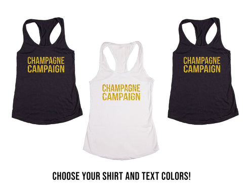 Champagne Campaign Bachelorette & Bridal Party Tank Tops or V-Necks Pack