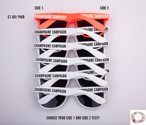 Champagne Campaign Custom Bridal Party & Bachelorette Sunglasses