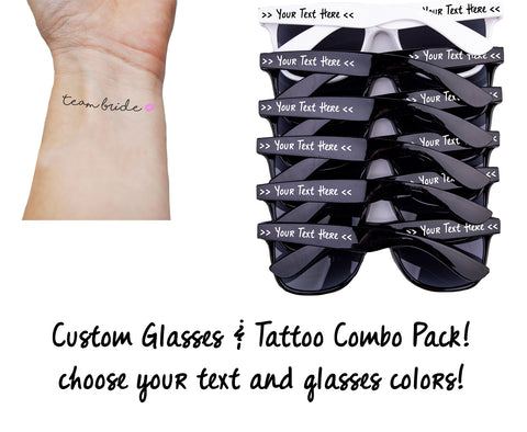 10 Custom Sunglasses & 10 Temporary Tattoos Combination Packs