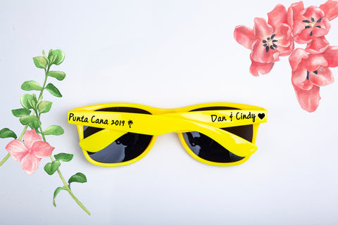 Custom Destination Wedding & Bachelorette Party Wedding Favor Sunglasses