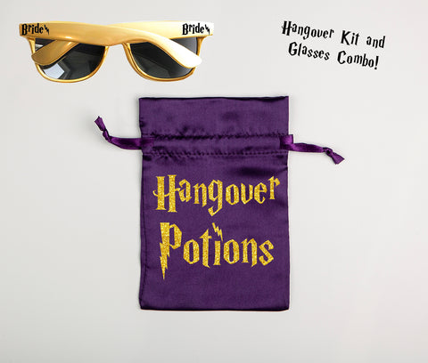 Wizard Themed Bachelorette & Bridal Party Combo Pack of Sunglasses & Hangover Potions Bags
