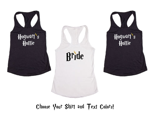 Wizard Themed Bride Wedding, Bachelorette & Bridal Party Tank Tops or V-Necks Pack