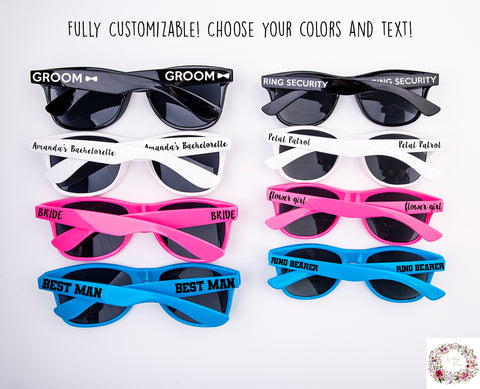 Custom Wedding Sunglasses (Choose your text and colors!)