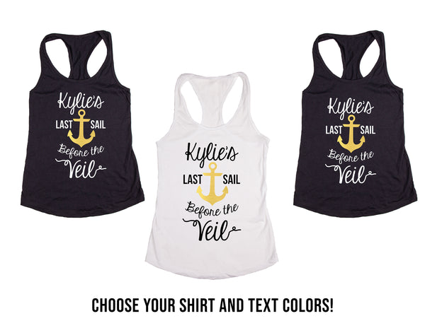 Custom Personalized Last Sail before the Veil Wedding & Bachelorette Tank Tops or V-Necks pack