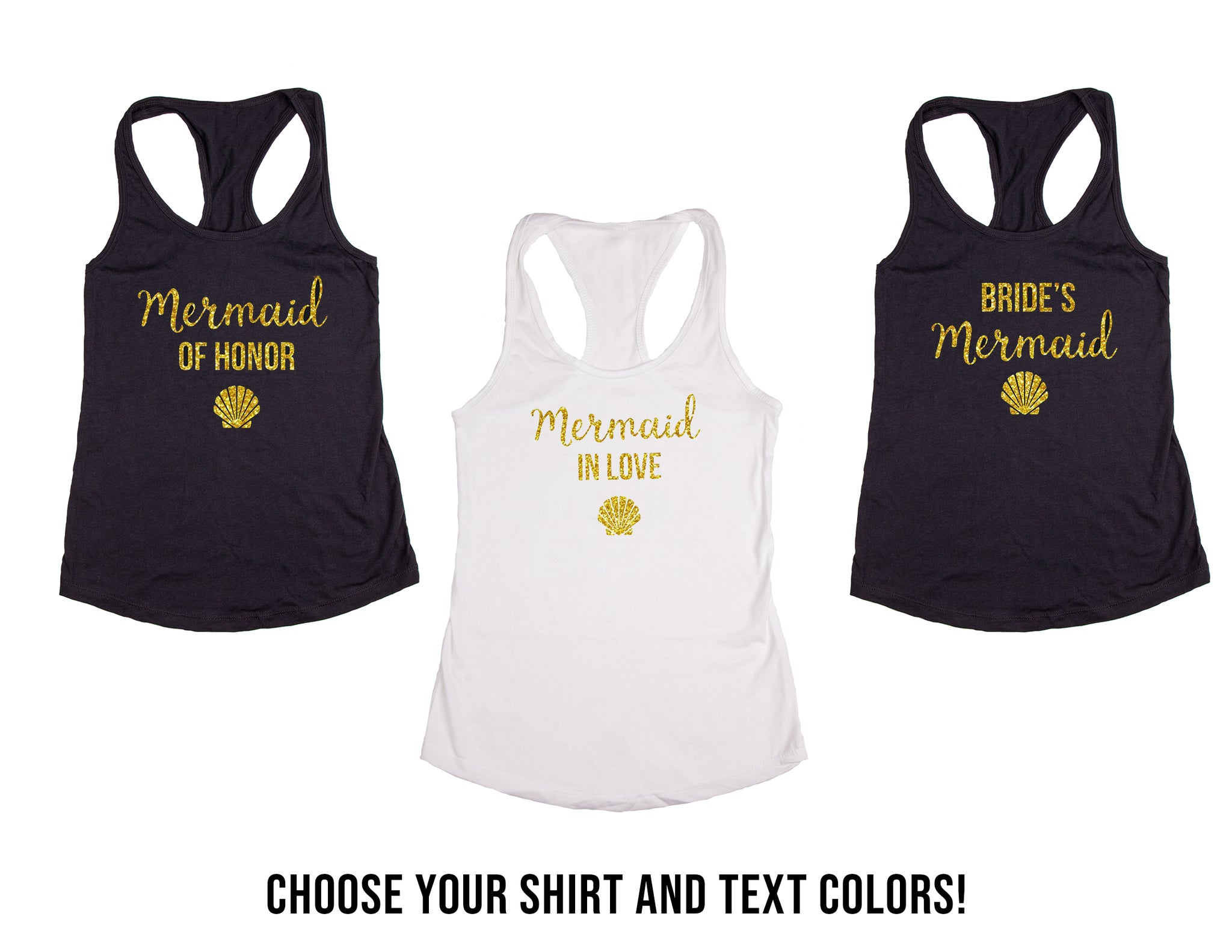Mermaid Themed Wedding, Bachelorette & Bridal Party Tank Tops or V-Necks Pack