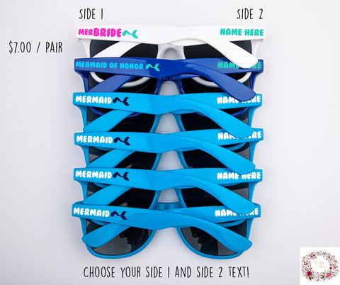 Custom Mermaid Themed Bachelorette & Bridal Party Wedding Sunglasses
