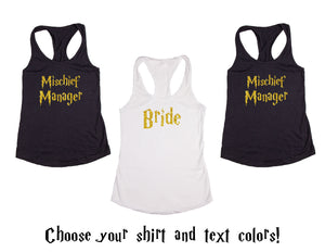 Wizard Mischief Manager Themed Wedding, Bachelorette & Bridal Party Tank Tops or V-Necks Pack