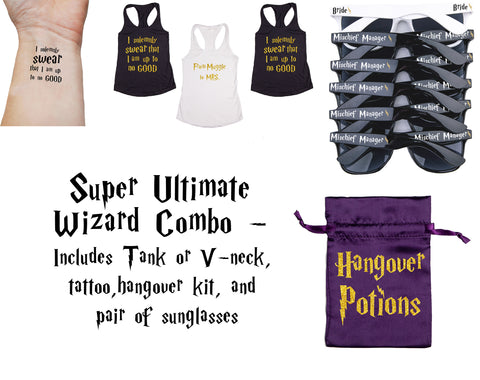 Super Ultimate Wizard Bachelorette Party Pack: Shirts, Tattoos, Sunglasses & Hangover Kits