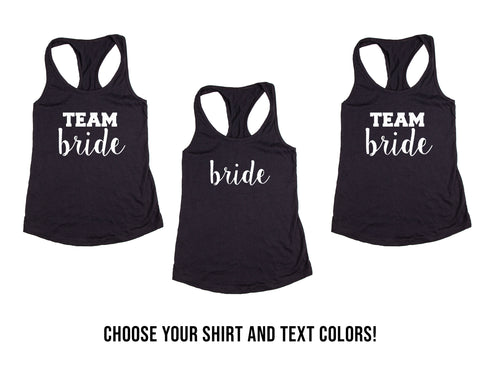 Team Bride and Bride Wedding, Bachelorette&  Bridal Party Tank Tops or V-Necks Pack
