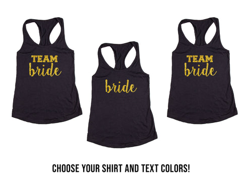 Team Bride and Bride Wedding, Bachelorette & Bridal Party Tank Tops or V-Necks Pack