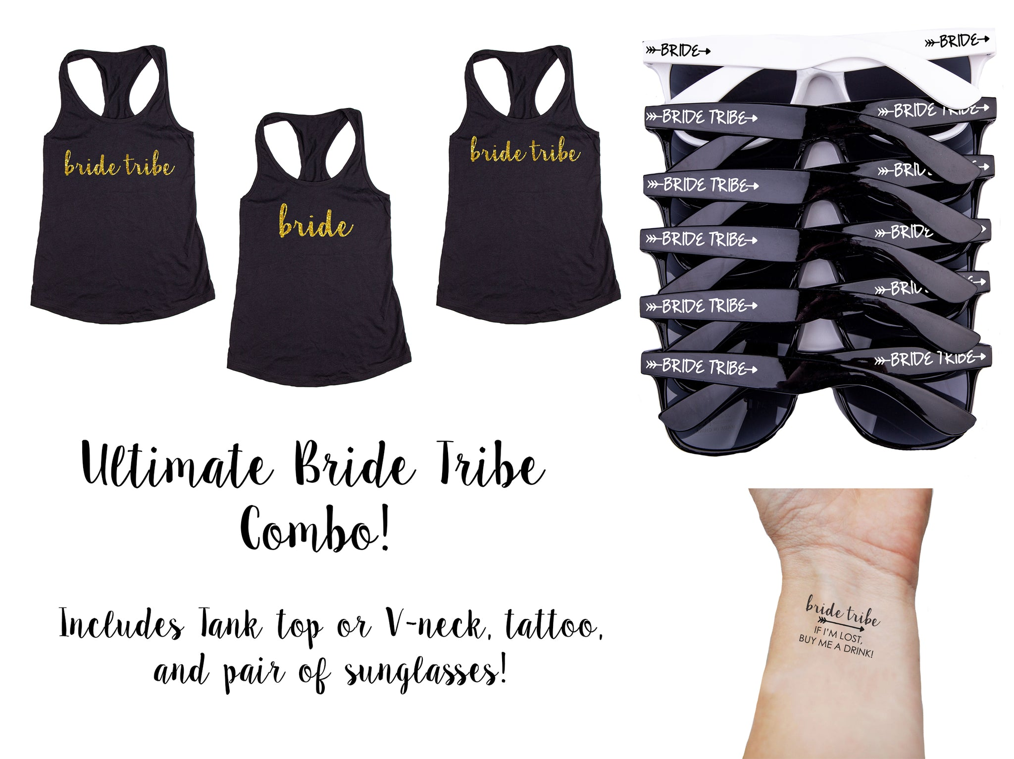 Ultimate Bride Tribe Bachelorette Party Pack- Includes Tank Tops, Sunglasses & Temporary Tattoos