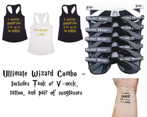 Ultimate Wizard Bachelorette Party Combo Pack- Includes Shirts, Sunglasses & Temporary Tattoos