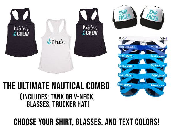 Ultimate Nautical Themed Bachelorette Party Pack- Includes Shirts, Sunglasses & Trucker Hats