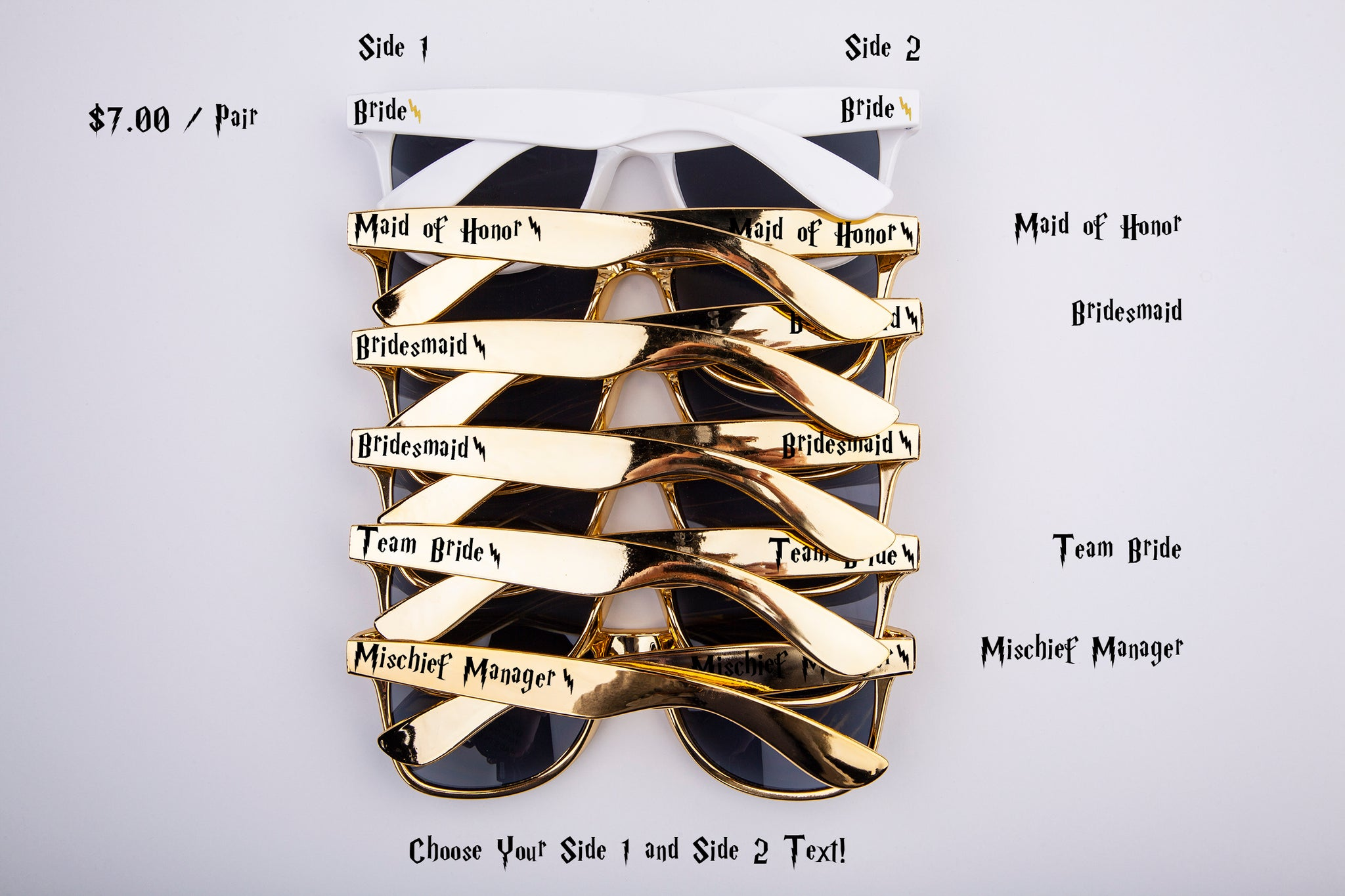 Wizard Themed Bachelorette, Bridal Party & Wedding Sunglasses