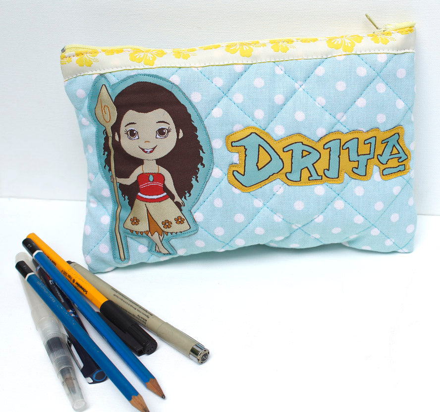 Moana Polka - quilted pencil pouch