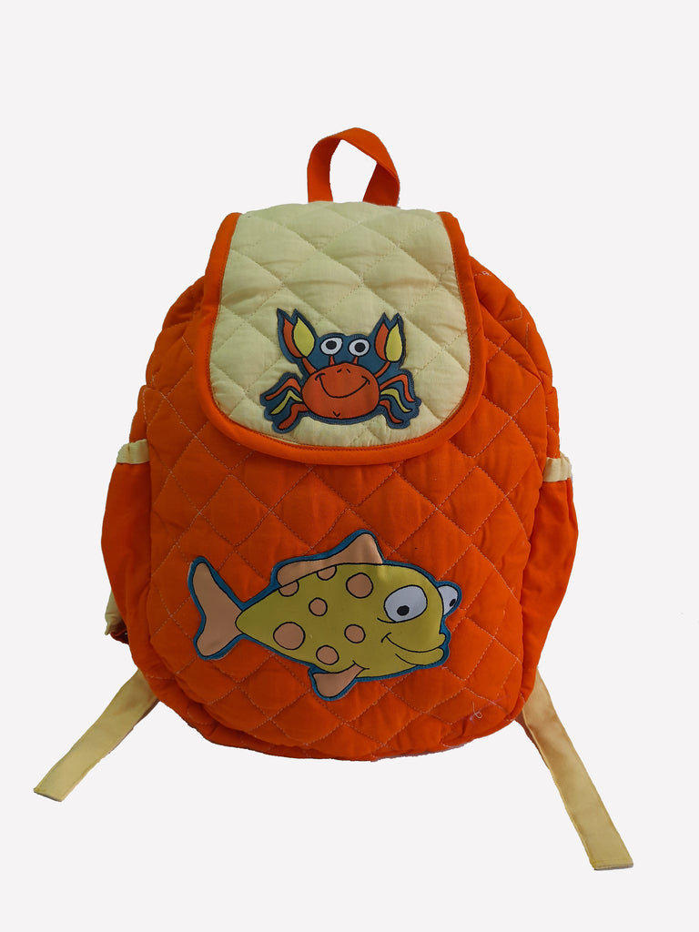 Crab and fish -  Quilted School bag