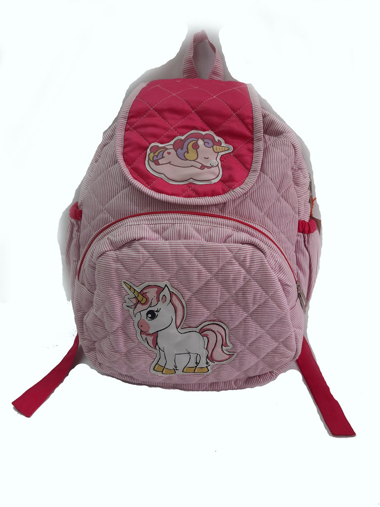 Unicorn pink stripe -  Quilted School bag with lunch bag