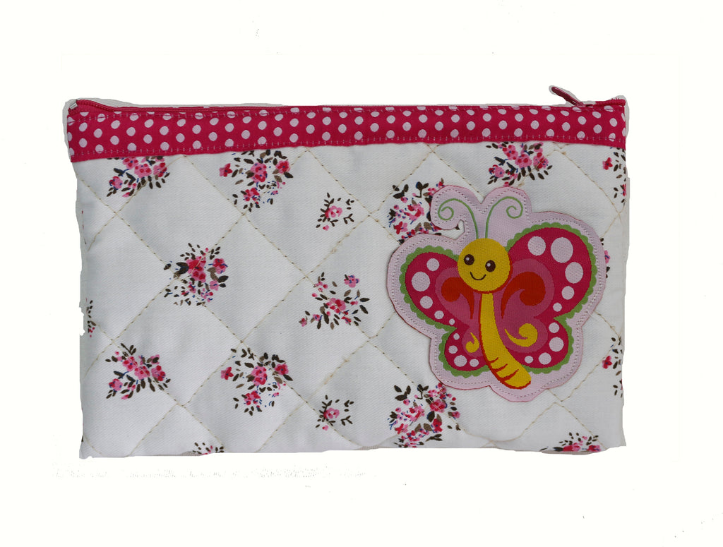 Bright Butterfly - quilted pencil pouch