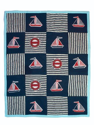 Sail boat and Anchor - Baby Quilt