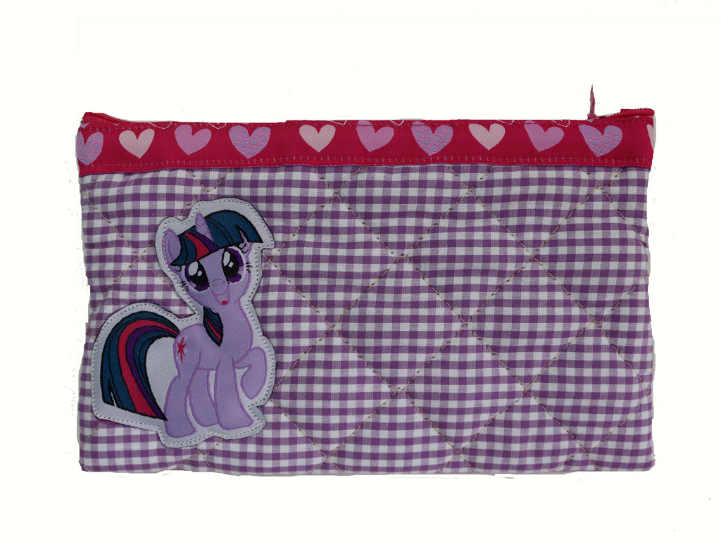 Purple pony - quilted pencil pouch
