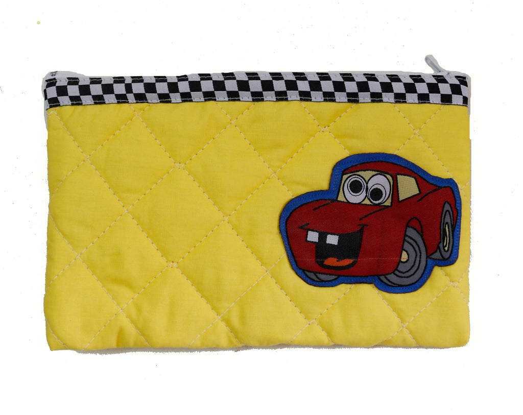 Fun with cars  - quilted pencil pouch