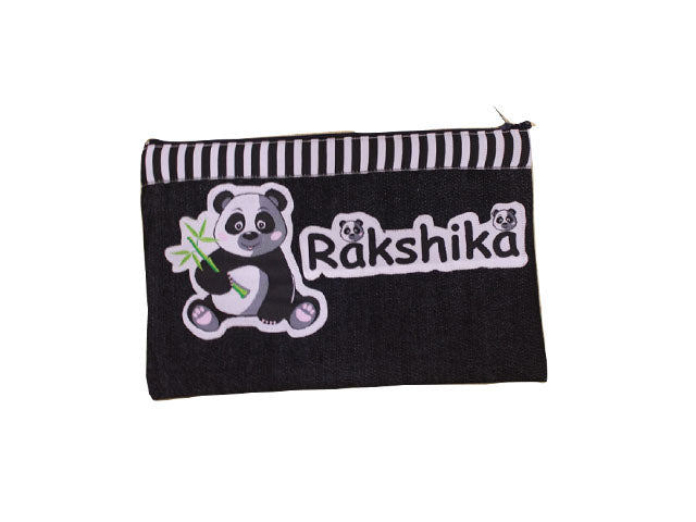 Panda Denim pencil pouch