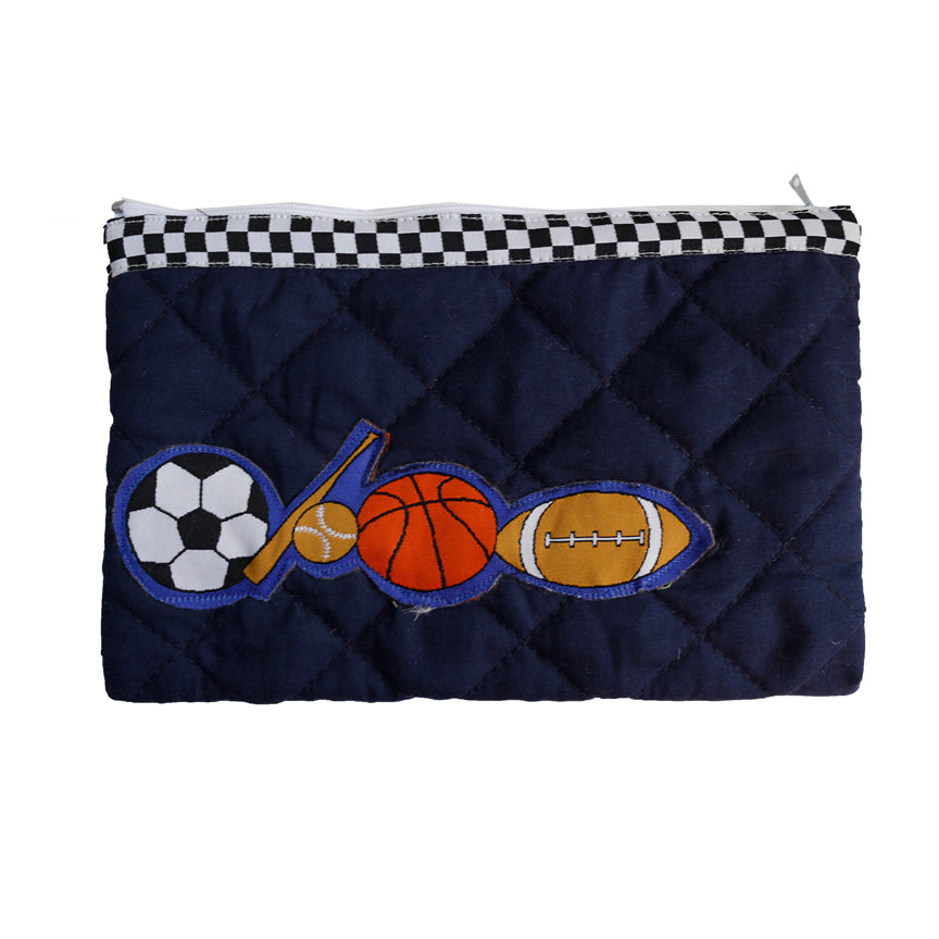 Little sportsman - quilted pencil pouch