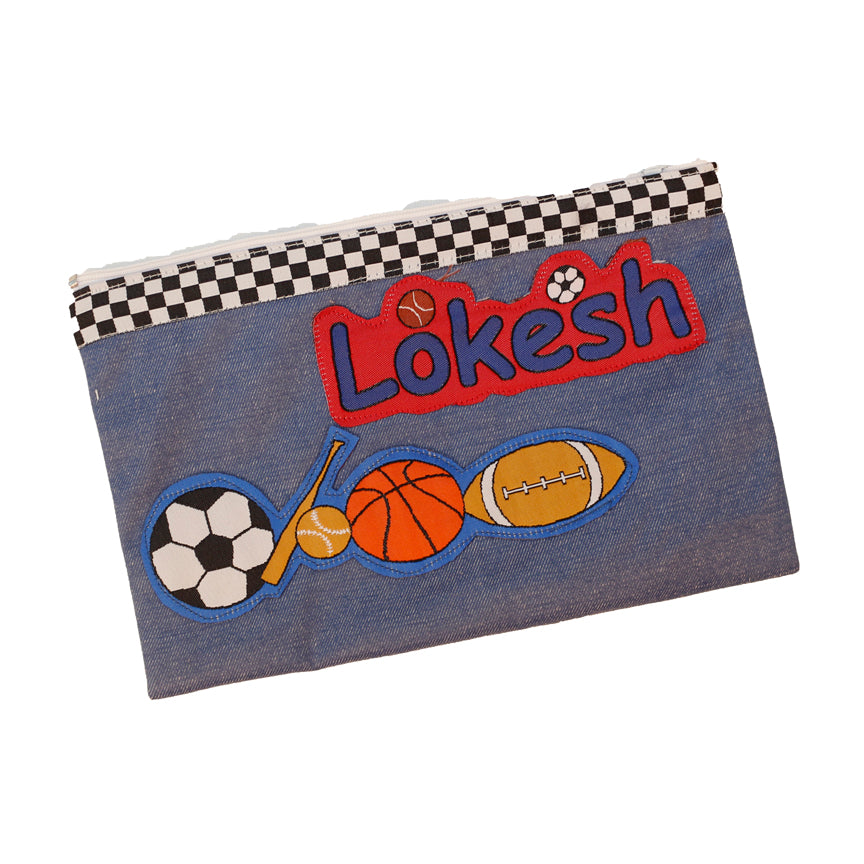 All balls - denim pencil pouch