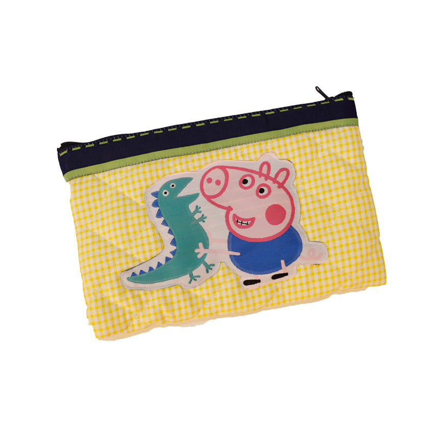 Piggy and Dino - quilted pencil pouch