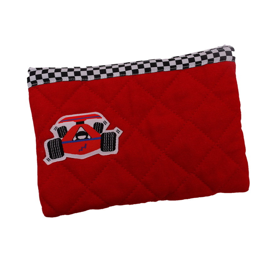 Race car - quilted pencil pouch