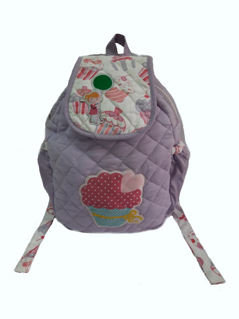 Cupcake and candy - quilted school bag