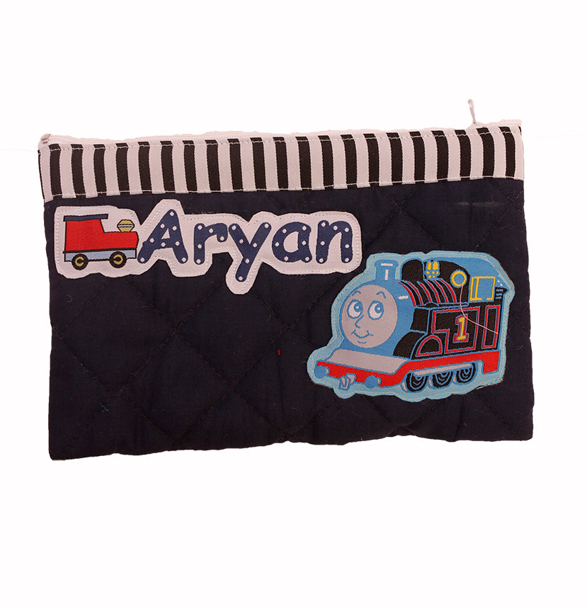 Thomas engine - quilted pencil pouch