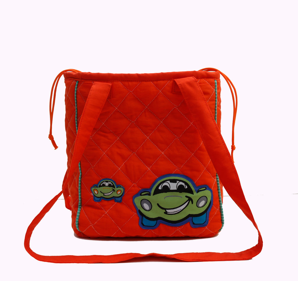 Crazy car drawstring lunch bag