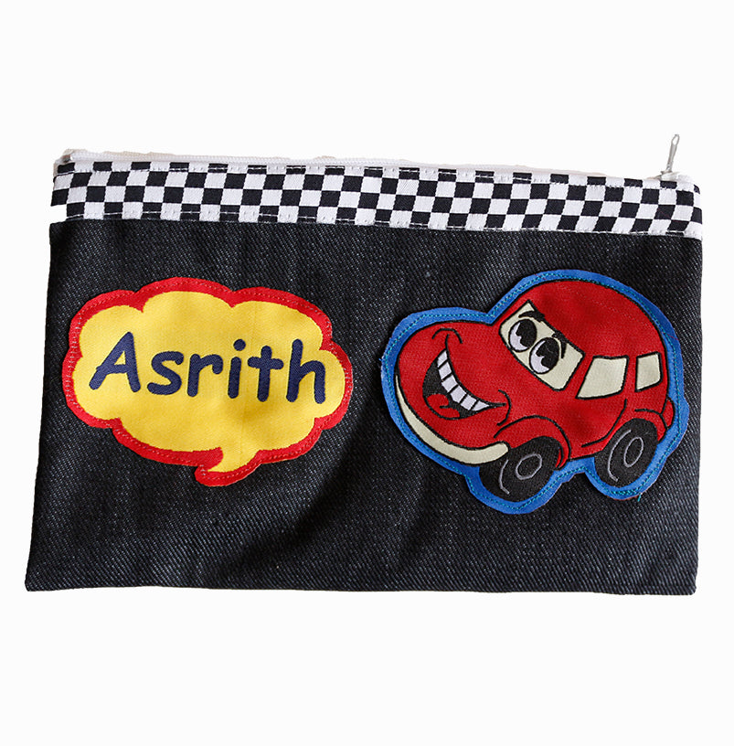 Crazy car - Denim pencil pouch
