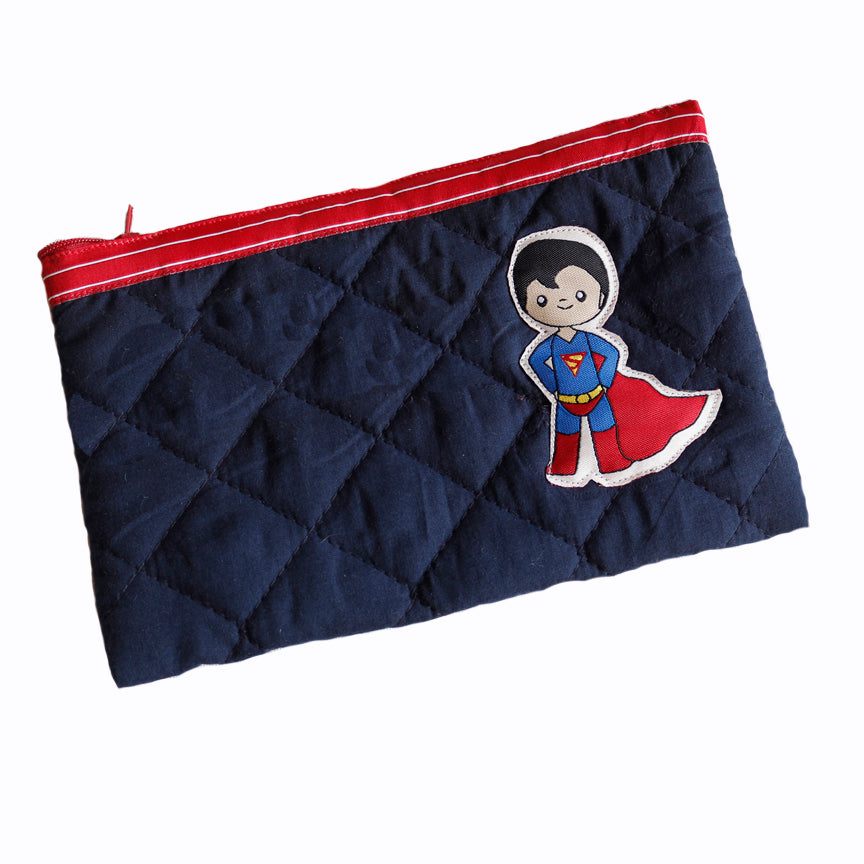 Superman - quilted pencil pouch