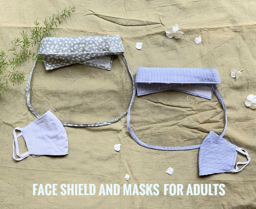 Shades of blue - Face Shield and mask