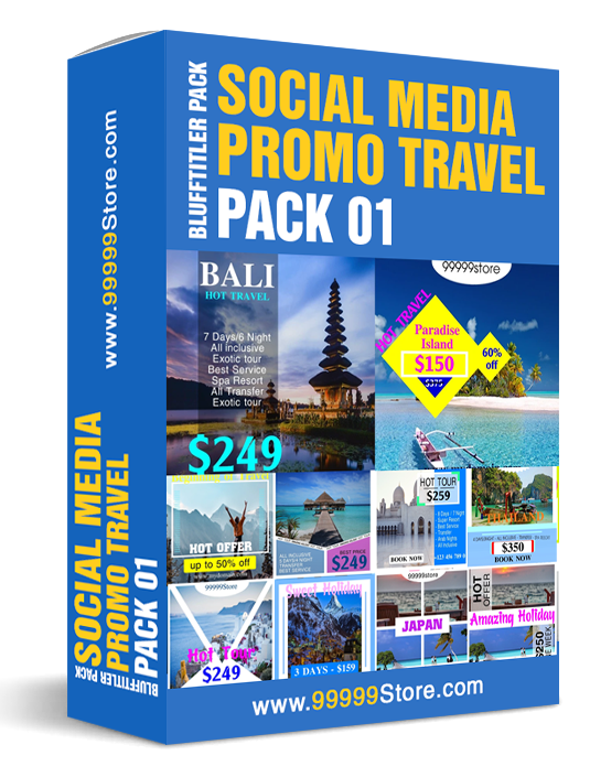 Blufftitler Blufftitler Pack - Social Media Promo TRAVEL - Pack 01 Blufftitler 99999Store
