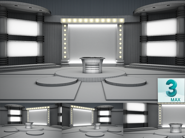 Virtual Studio Sets 3DSMAX - 4K NEWS 25 3DS MAX 99999Store