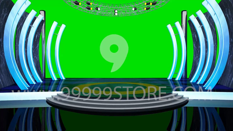 Virtual Studio Sets Virtual Set Green Screen 4K - Talk 14 GREEN SCREEN 99999Store