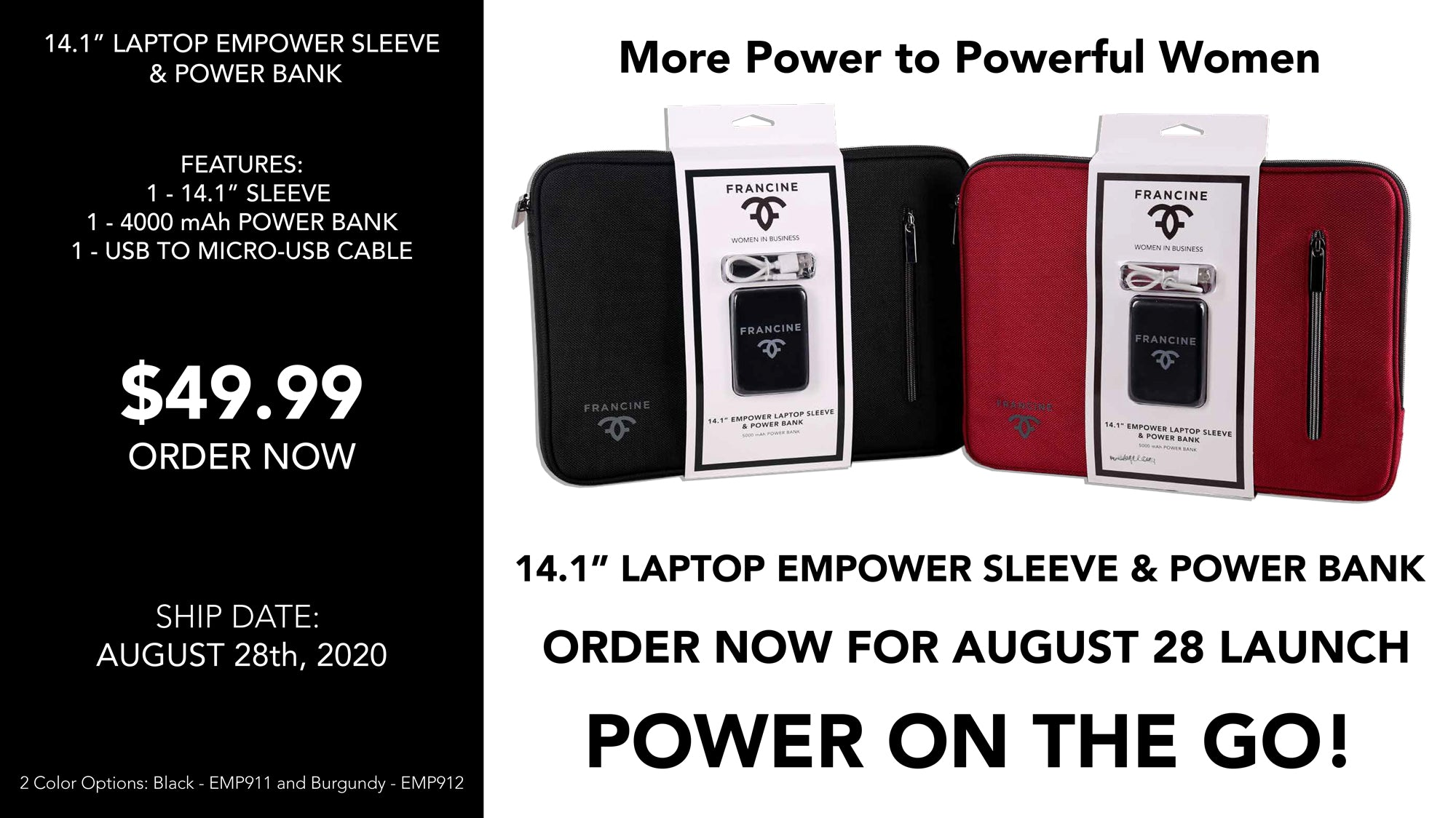 The New Francine Collections Empower Sleeve and Power Bank