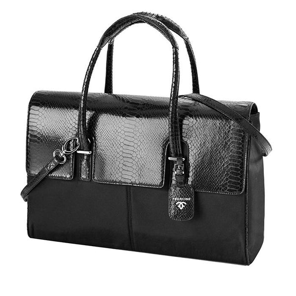 London Case Black Python | Laptop Bags for Women | Francine Collections