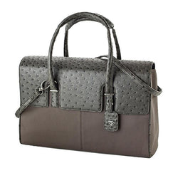 London Case Gray Ostrich | Laptop Bags for Women | Francine Collections