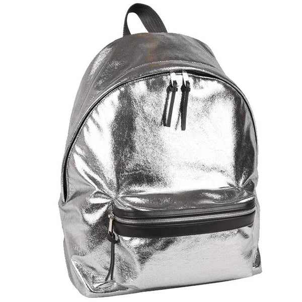 Napoli Backpack Metallic Silver | Laptop Bags for Women | Francine Collections