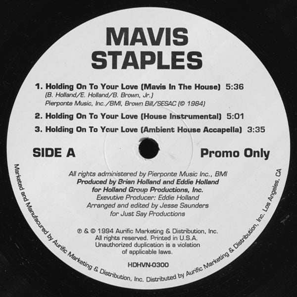 "Mavis Staples ‎– Holding On To Your Love (12"")"