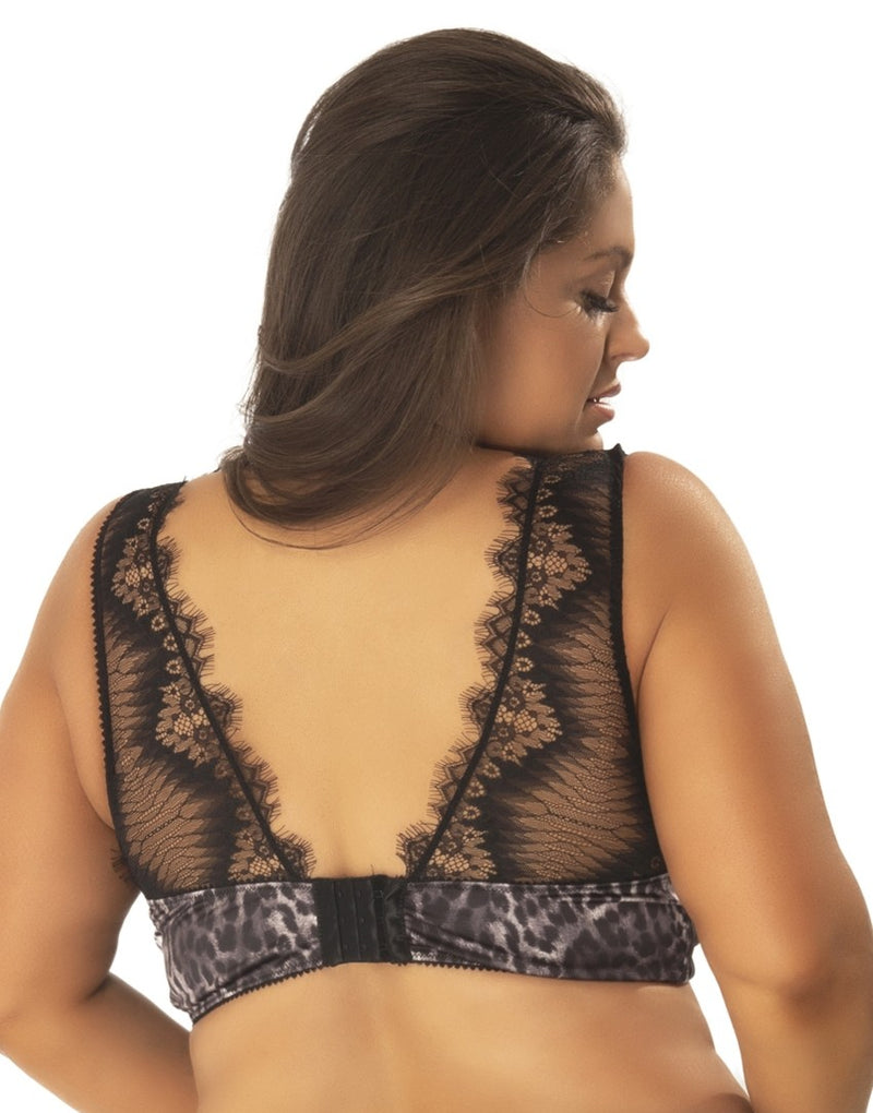 Plus Size Animal Print and Lace Bra