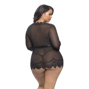 Plus Size Black Sheer and Mesh Robe