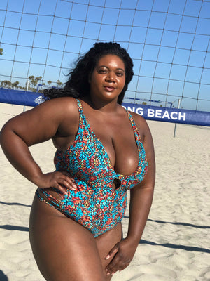 Plus Size Teal Sunset One Piece Swimsuit