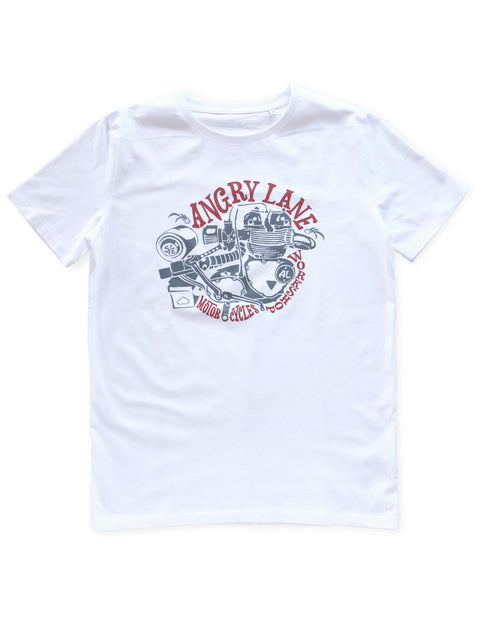 Engine White T-shirt - ANGRY LANE