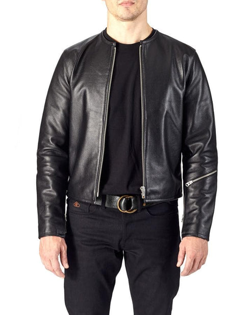 1/4 MILE - Full Perforated Leather Jacket - ANGRY LANE
