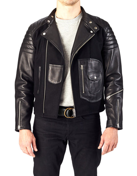 RACER - Leather & Wool Biker Jacket - ANGRY LANE